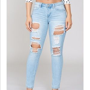 Denim - Light wash mid rise skinny jeans